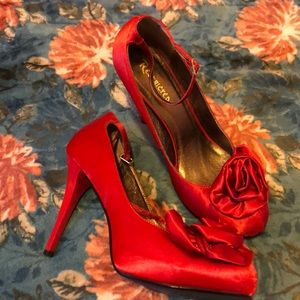 Super cute red satin shoes